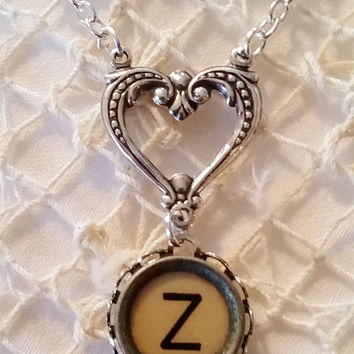Z Typewriter Key Necklace, Letter Z Pendant, Heart Necklace, Filigree Heart, Antique Typewriter Key Z, Initial Z Jewelry, Gift for Her
