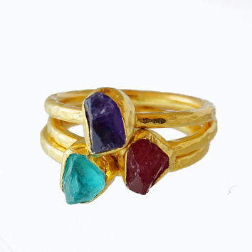 Hammered Roman Art Genuine Rough Ruby /Apatite/Amethyst Stack Ring Set By Ferimer 18k Gold Plated Over 925K Sterling Silver