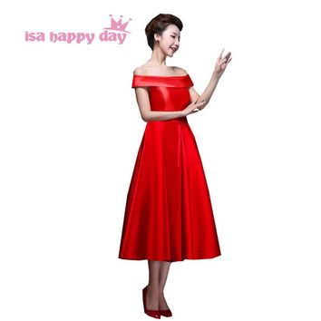 robe soiree girls new 2018 summer red green bridesmaid satin bride maid dresses maid dress women tea length ball gown H2904