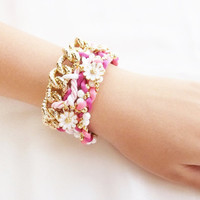 Pink bracelet , white gold flowers , woven and braided bracelet , chain bracelet , arm party ,friendship bracelet ,pink jewelry