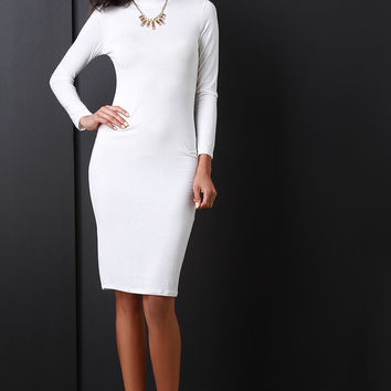 Turtleneck Long Sleeve Midi Dress
