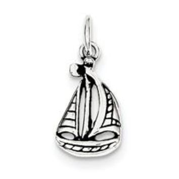 Antiqued Boat Charm in Sterling Silver
