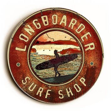 Longboarder Surf Shop by Artist Lynne Ruttkay Wood Sign