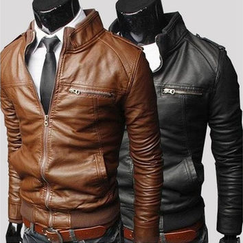 Men's  stand collar PU leather jacket (Wish Size S/M/L/XS) [9221279876]