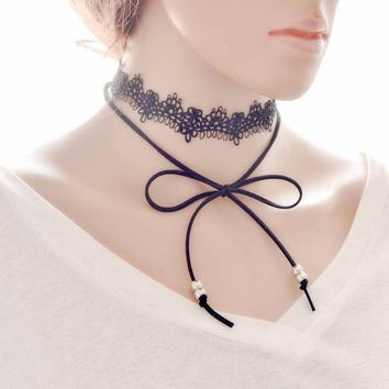 Bow Lace Necklace Collar Choker