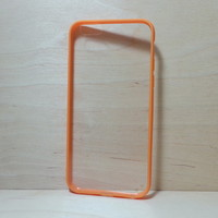 For Apple iPhone 6 (4.7 inches) Orange Silicone Bumper and Clear Hard Acrylic Case
