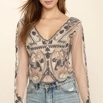 Best For Last Sheer Beige Beaded Crop Top