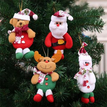 Christmas Santa Claus Snowman Elk Dolls Standing Navidad Figurine Christmas tree Ornaments Kids Christmas Gifts Toy