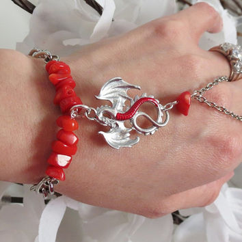 Coral Dragon Slave Bracelet Bracelet Ring. Red Coral Beads. Hand painted Silver Dragon with Red Crimson Belly. Dark Silver Metal. Sized