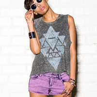 Distressed Geo Print Muscle Tank
