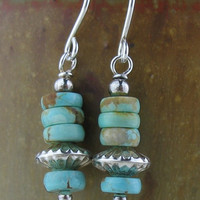 Rare Number 8 Turquoise Beaded Earrings Handmade in the USA Jewelry