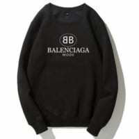 Balenciaga autumn and winter trend plus velvet wild double B letter printing round neck long-sleeved sweater Black