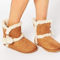 Totes Suedette Pom Pom Bootie Slippers