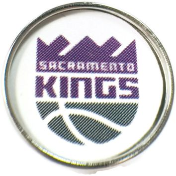 NBA Basketball Logo Sacramento Kings 18MM - 20MM Fashion Snap Jewelry Snap Charm New Item
