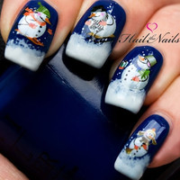 Christmas Nail Wraps Water Transfers Decal Nail Art Y135 Snowmen Salon Quality = 1946478276