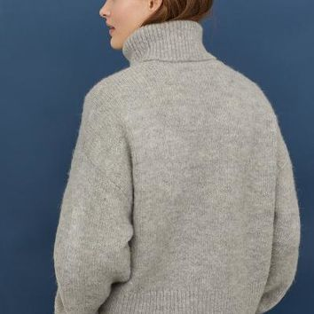 Knit Turtleneck Sweater - Light gray melange - Ladies | H&M US
