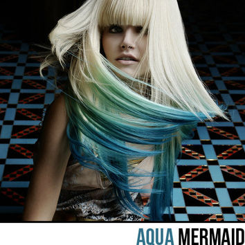 AQUA MERMAID OMBRE Color Clip In Hair Extensions // Human Hair // 20 Inches