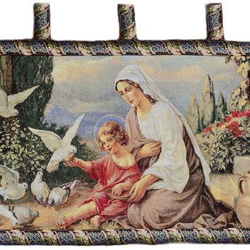 Tache 43 x 23 Mother and Child in Garden Woven Tapestry Wall Hanging