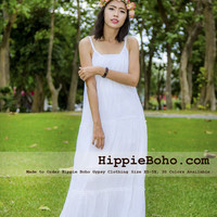 No.383 - Size XS-5X Hippie Boho Clothing Gypsy White Cotton Tiered Maxi Plus Size Strap Dress, Maxi Long White Dress