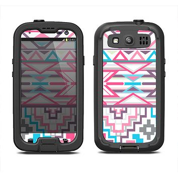 The Vector Pink & White Modern Aztec Pattern Samsung Galaxy S4 LifeProof Fre Case Skin Set