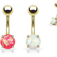 (2pcs) Gold Plated Opal Glitter Prong Set Belly Navel Rings 14g White and Pink