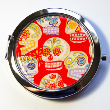 Sugar Skull Mirror, compact mirror, Sugar Skulls, mirror, purse mirror, Pocket mirror, Day of the Dead Mirror, Day of the Dead  (2908)