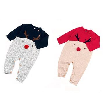Infant Toddler Baby Boy Girl Winter Warm Knitted Romper Jumpsuit Clothes Sweater
