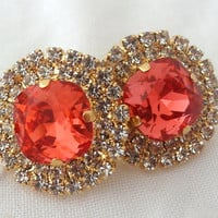Red peach and clear rhinstones stud earrings, Bridesmaids gift, Bridal stud earrings, Red orange stud earrings, Swarovski estate earrings