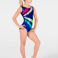 "Free Shipping - ""Mystique"" Child Striped Gymnastic Tank Leotard by PERFECT BALANCE"