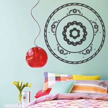 Wall Decor Vinyl Sticker Room Decal Ornament Abstract Mexican Symbol Sign Flower Art Culture Bedroom  (s237)