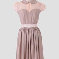 Dolly Dress In Taupe By Queen Of Heartz