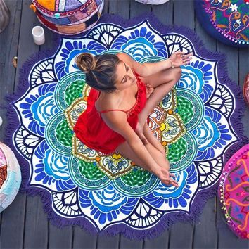 Round Beach Towel Tapestry Tassel Decor With Flowers Pattern 147*147CM Circular Tablecloth Yoga Picnic Mat
