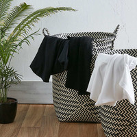 Black and White Stripe Laundry Basket Set - Urban Outfitters