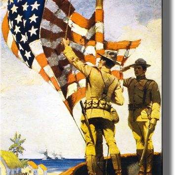 US Soliders Raising American Flag Picture Made on Acrylic Wall Art Decor Ready to Hang!.