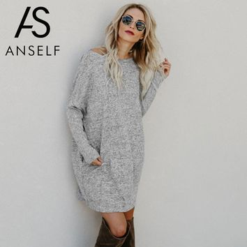 Anself Sexy Women Loose Knitted Dress Long Sleeve Pockets Sweater Dress 2018 Spring New Solid Casual Party Mini Straight Dress