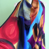 Vintage Silk Scarf, Square Silk Scarf, Abstract Print Womens Shawl, Colorful Boho Chic Pure Silk Scarf, Blue Red Purple Large Retro Scarf