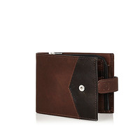 River Island MensBrown leather chevron block wallet