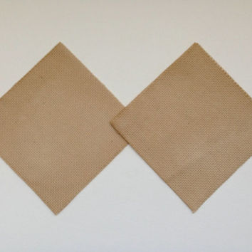 4.5 nch Tea dyed 14ct Aida cloth for making cross stitch coasters or artistic craft patches