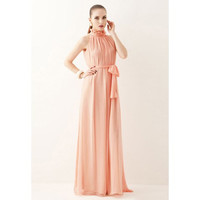 Pink Ruffled Collar Sleeveless Maxi Dress
