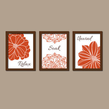 Shower Curtain Bathroom Wall Art Canvas Artwork Burnt Orange Brown Flower Set Of 3 Prints Decor