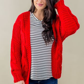 Woven In Time Sweater- Red