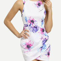 White Contrast Cut Out Floral Wrap Dress -SheIn(Sheinside)