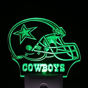 ws0057 Dallas Cowboys Helmet Bar Day/ Night Sensor Led Night Light Sign