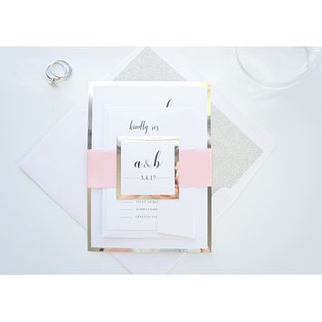Blush Pink Wedding Invitation, Pink and Silver Wedding Invitations - SAMPLE SET
