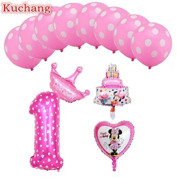 12pcs mickey minnie mouse foil balloons number 1-9 foil balloons mini cake globos baby shower birthday party decoration supplies