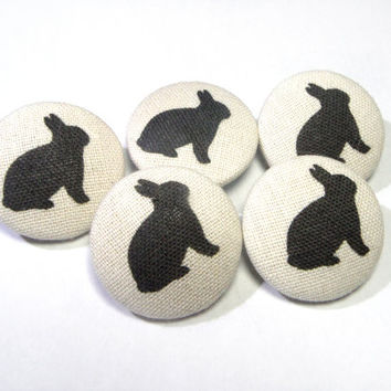 Bunny rabbits Handmade Fabric covered buttons, bag purse buttons, funny children buttons, sewing buttons, sweater buttons