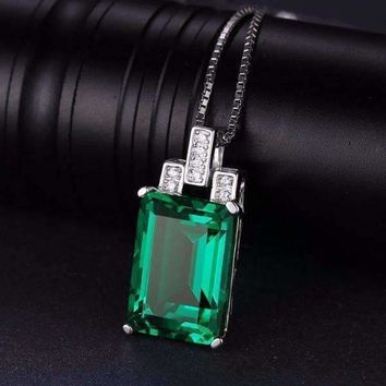 Heritage 9CT Emerald Cut Simulated Russian Emerald IOBI Precious Gems Pendant