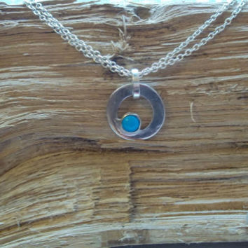 Circle Necklace, Sterling Silver and Turquoise Stone,Sterling Small Circle Link Chain, Simplistic, Modern, Delicate, Elegant