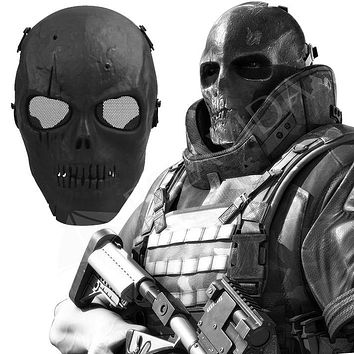 1Pc Skull Skeleton Airsoft Paintball BB Gun Full Face Protect Mask Shot Helmets Foam padded inside Black eye shield Full Cover