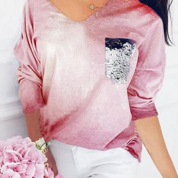 Women's Long Sleeved Loose Pullover T Shirt With Sequined Pocket
